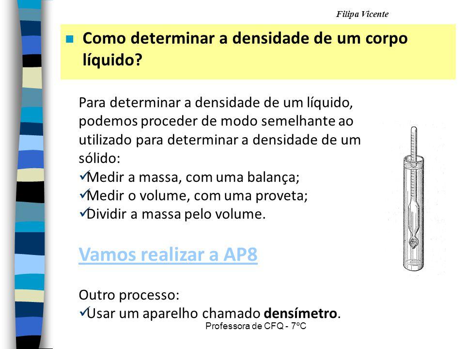 Vamos realizar a AP8 Como determinar a densidade de um corpo líquido