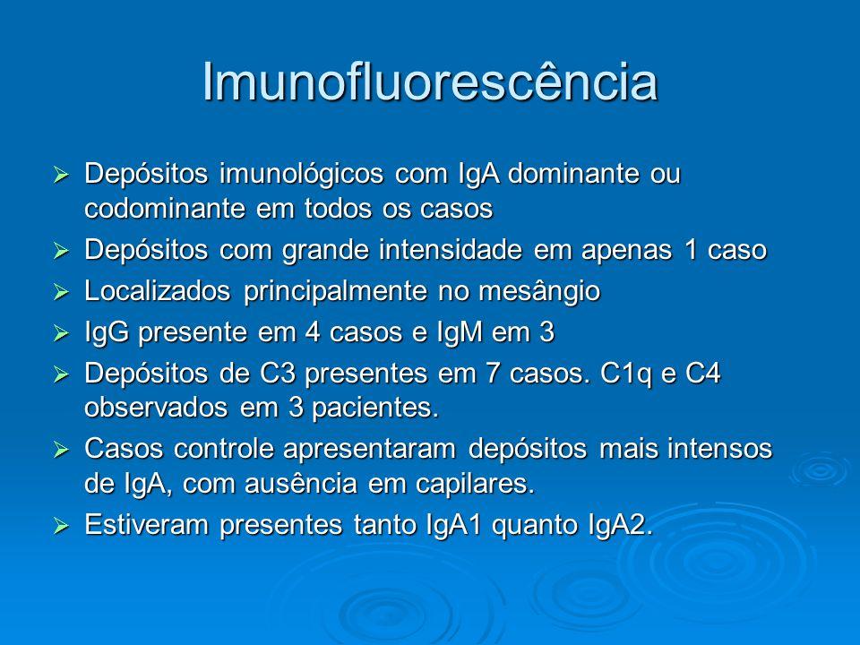 Imunofluorescência Depósitos imunológicos com IgA dominante ou codominante em todos os casos. Depósitos com grande intensidade em apenas 1 caso.