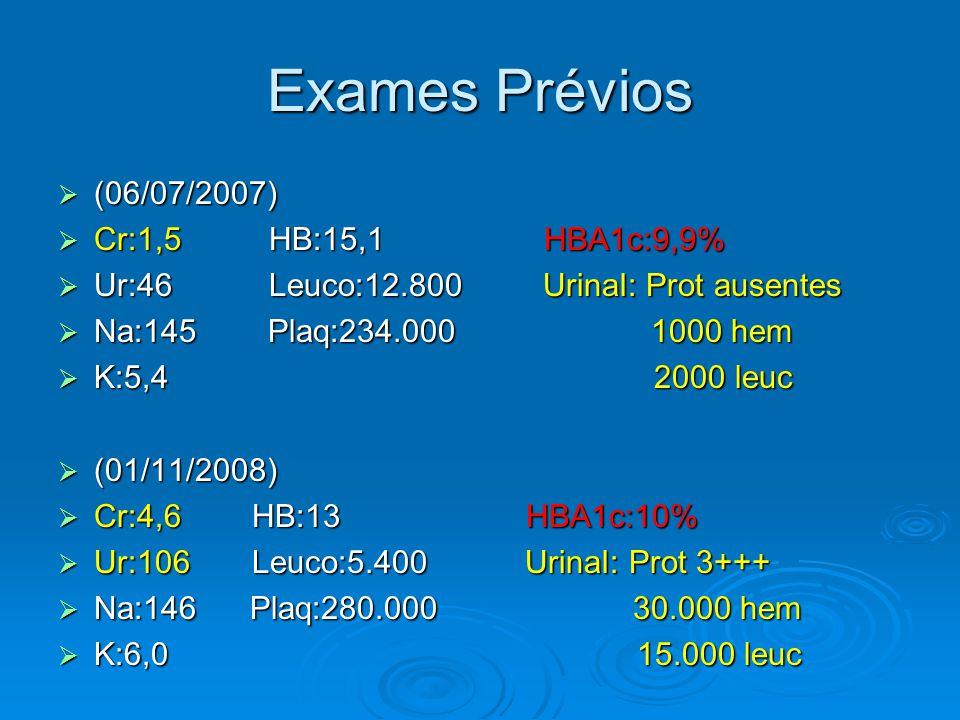 Exames Prévios (06/07/2007) Cr:1,5 HB:15,1 HBA1c:9,9%
