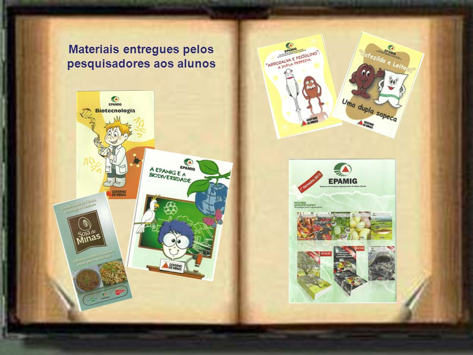 Materiais entregues pelos pesquisadores aos alunos