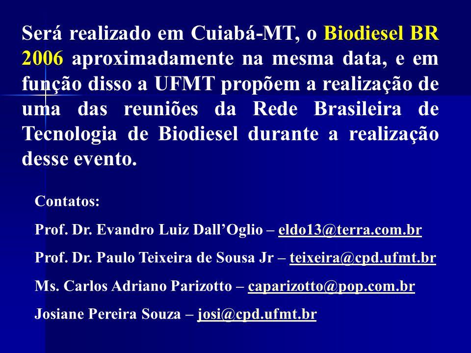Será realizado em Cuiabá-MT, o Biodiesel BR 2006 aproximadamente na mesma data, e em função disso a UFMT propõem a realização de uma das reuniões da Rede Brasileira de Tecnologia de Biodiesel durante a realização desse evento.