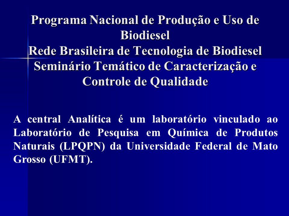 Programa Nacional de Produção e Uso de Biodiesel Rede Brasileira de Tecnologia de Biodiesel Seminário Temático de Caracterização e Controle de Qualidade