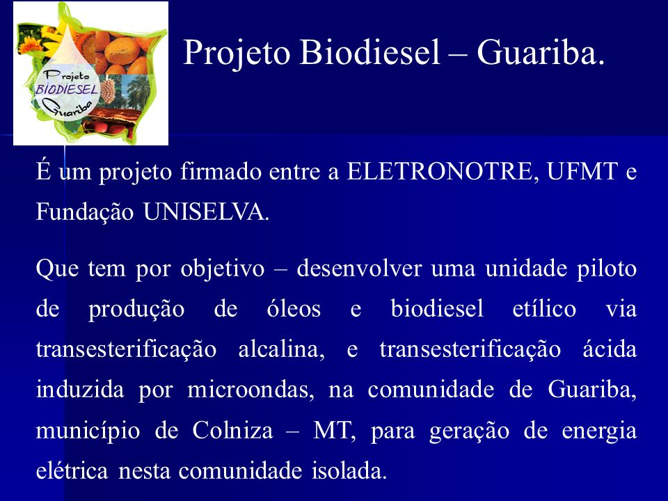 Projeto Biodiesel – Guariba.