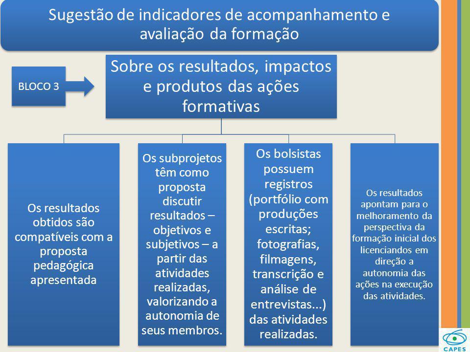 Sobre os resultados, impactos e produtos das ações formativas