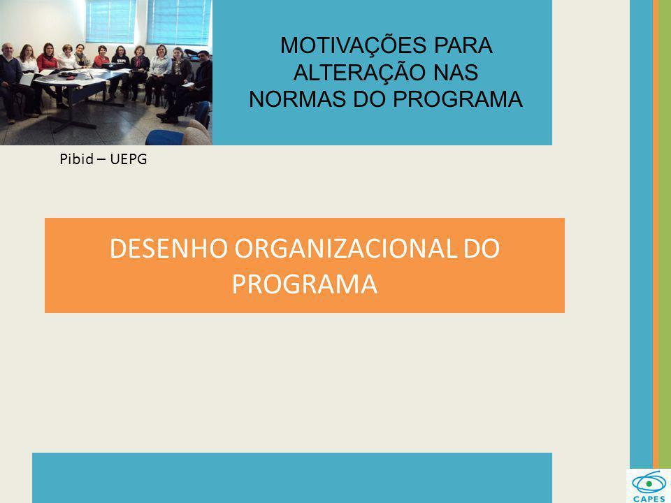 DESENHO ORGANIZACIONAL DO PROGRAMA