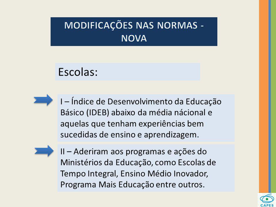 MODIFICAÇÕES NAS NORMAS - NOVA