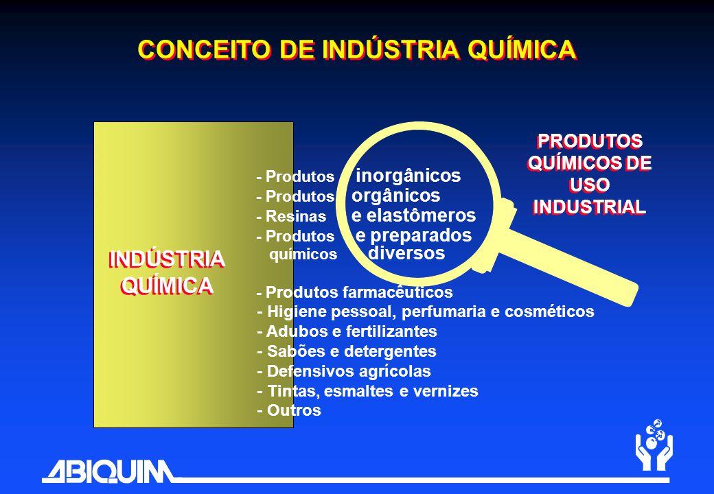 CONCEITO DE INDÚSTRIA QUÍMICA PRODUTOS QUÍMICOS DE USO INDUSTRIAL