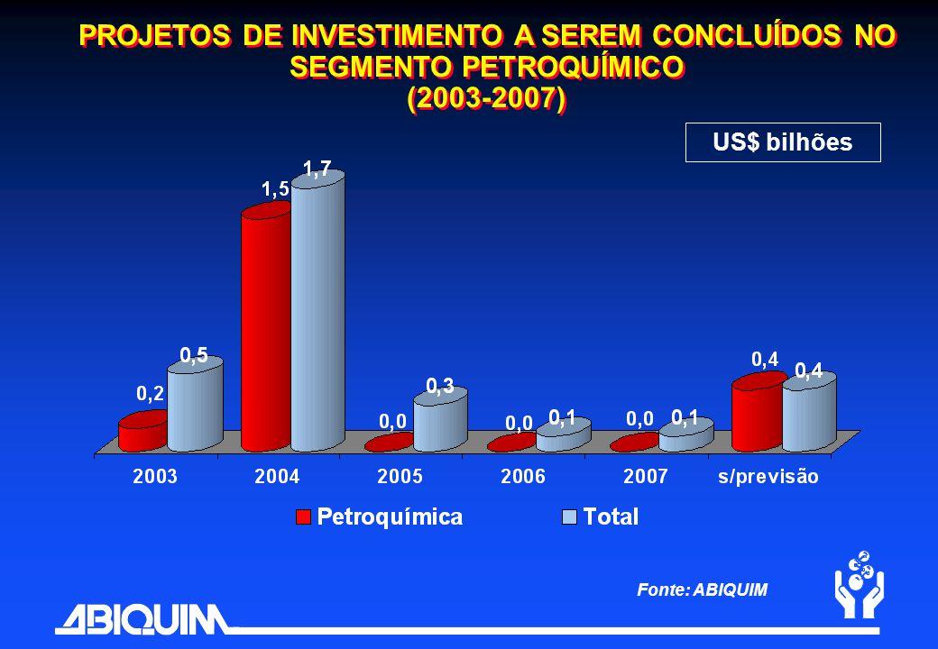 PROJETOS DE INVESTIMENTO A SEREM CONCLUÍDOS NO SEGMENTO PETROQUÍMICO (2003-2007)