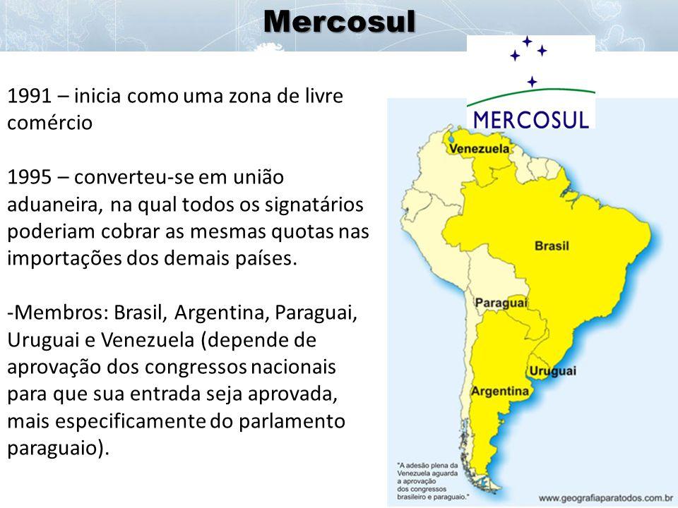 Mercosul 1991 – inicia como uma zona de livre comércio
