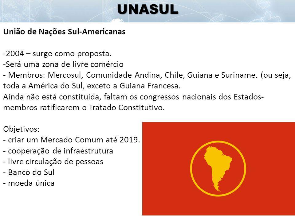 UNASUL União de Nações Sul-Americanas -2004 – surge como proposta.