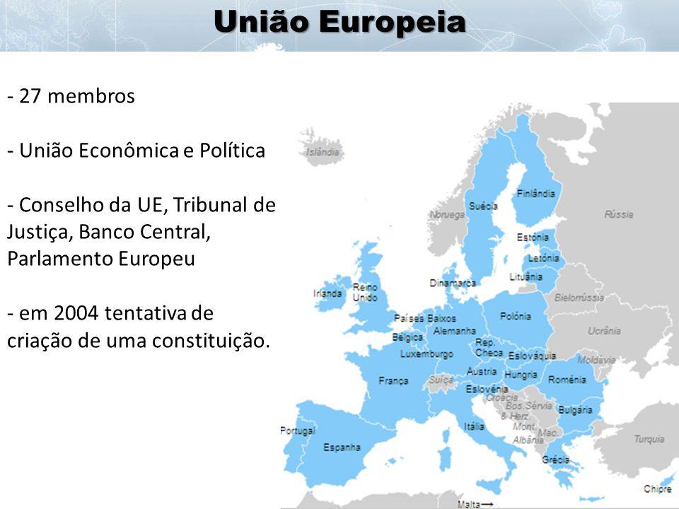União Europeia 27 membros União Econômica e Política