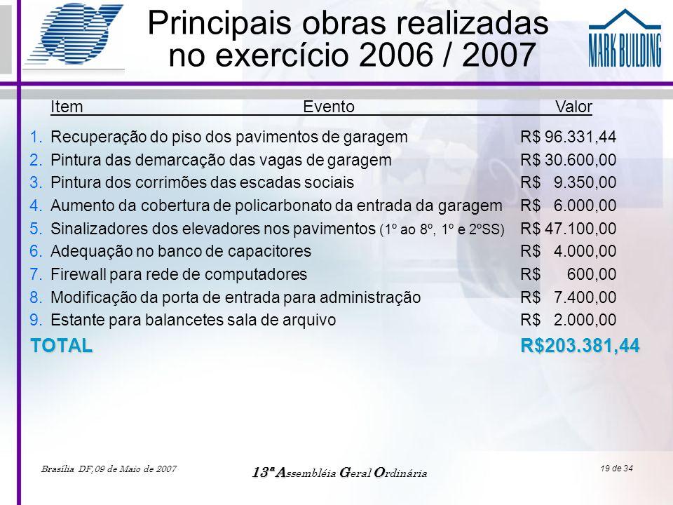 Principais obras realizadas no exercício 2006 / 2007