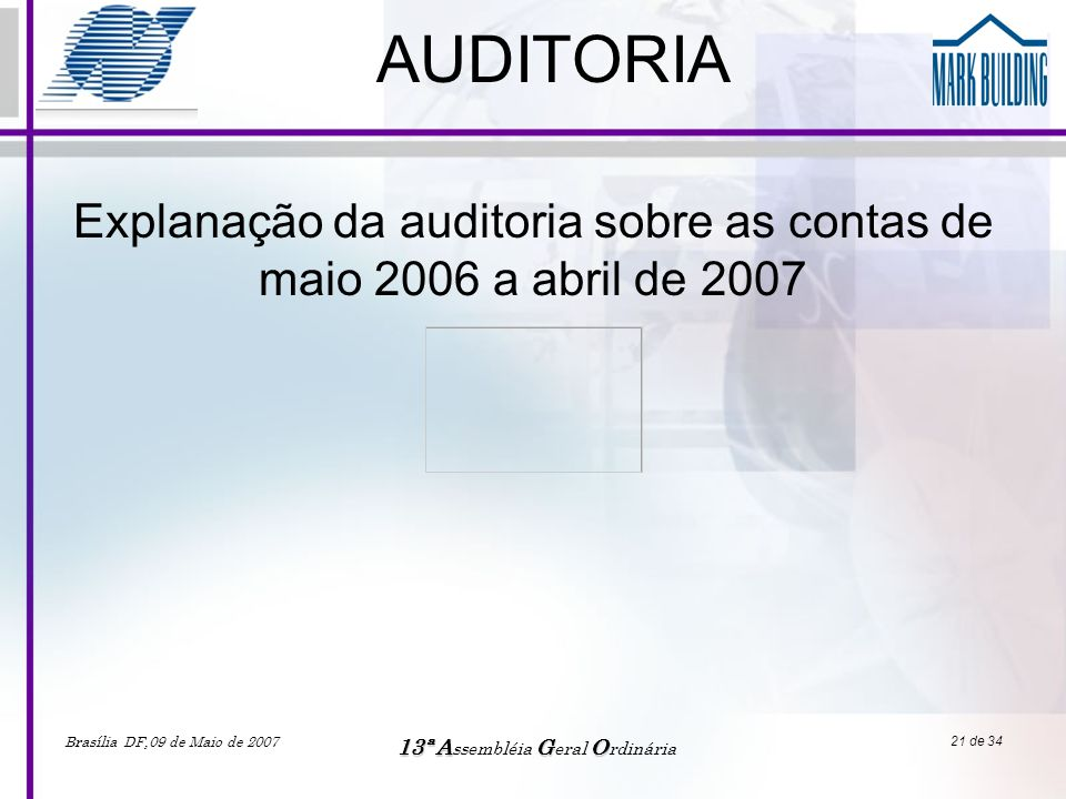 AUDITORIA Explanação da auditoria sobre as contas de maio 2006 a abril de 2007.