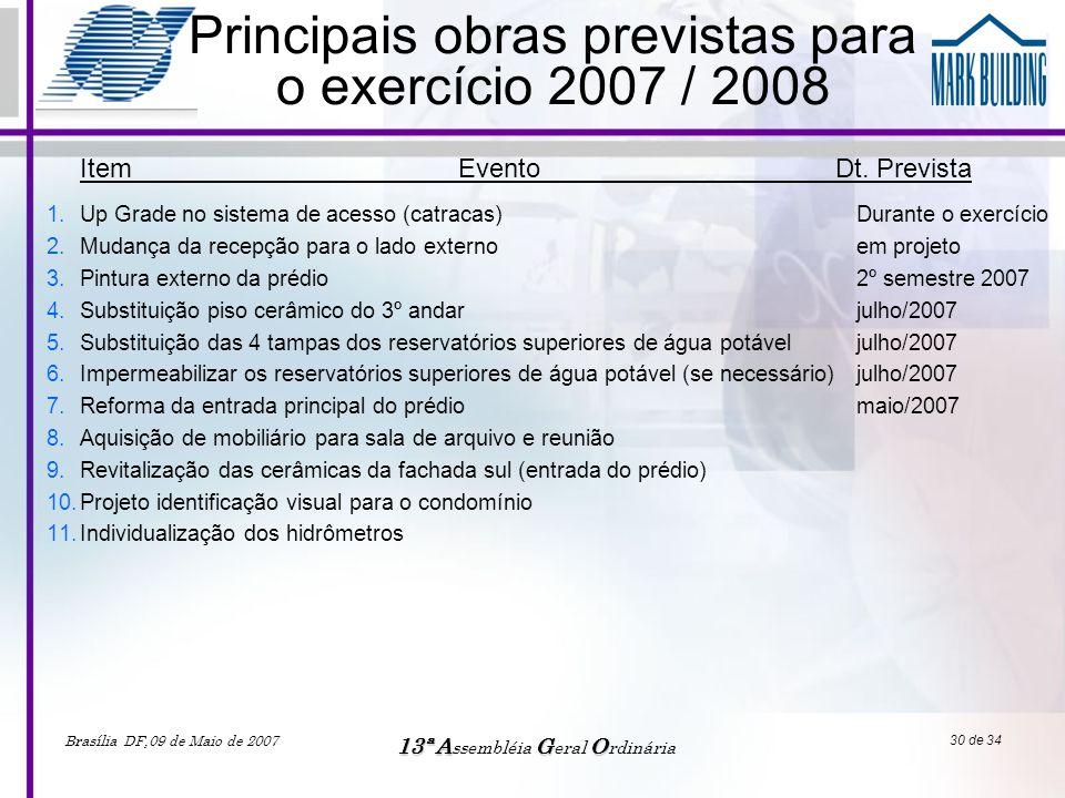 Principais obras previstas para o exercício 2007 / 2008