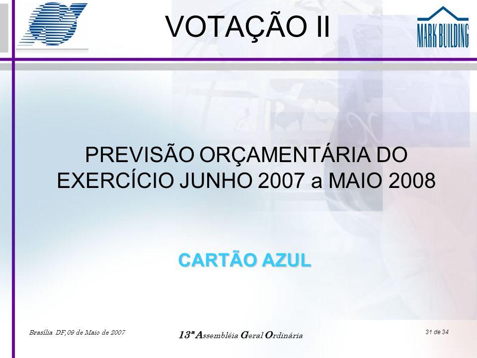PREVISÃO ORÇAMENTÁRIA DO EXERCÍCIO JUNHO 2007 a MAIO 2008