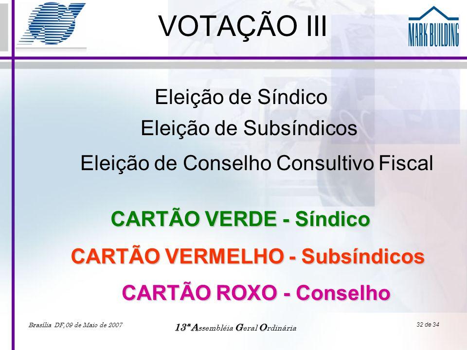 CARTÃO VERMELHO - Subsíndicos