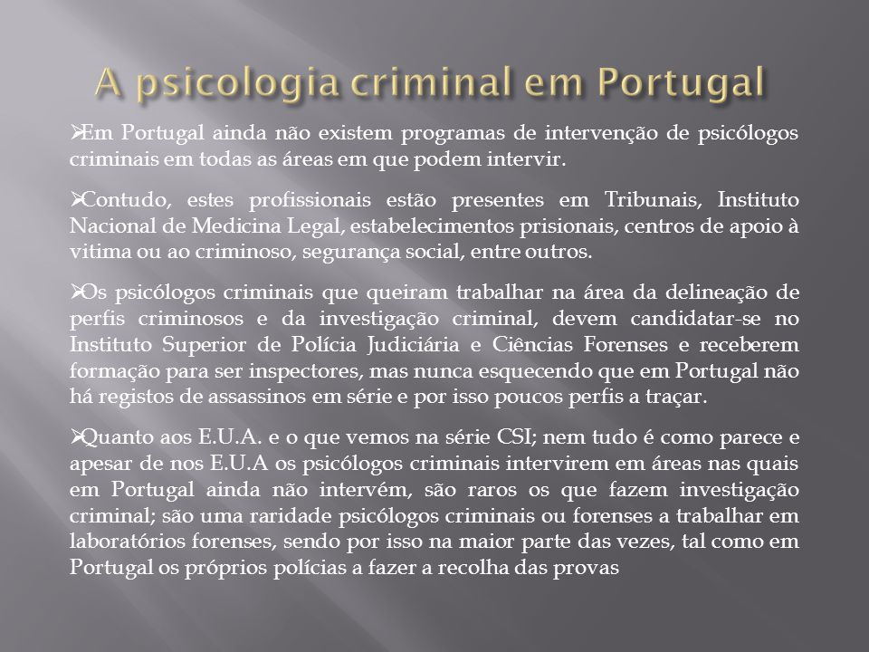 A psicologia criminal em Portugal