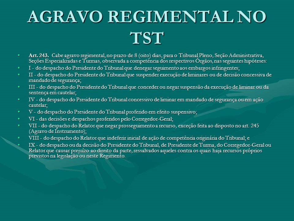 AGRAVO REGIMENTAL NO TST