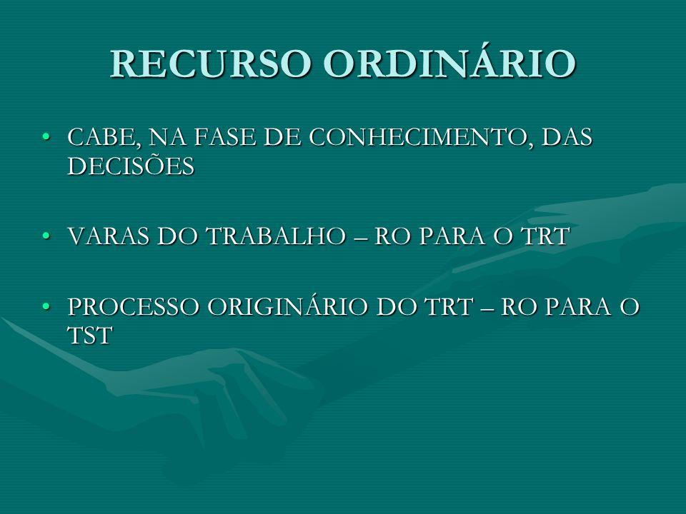 RECURSO ORDINÁRIO CABE, NA FASE DE CONHECIMENTO, DAS DECISÕES