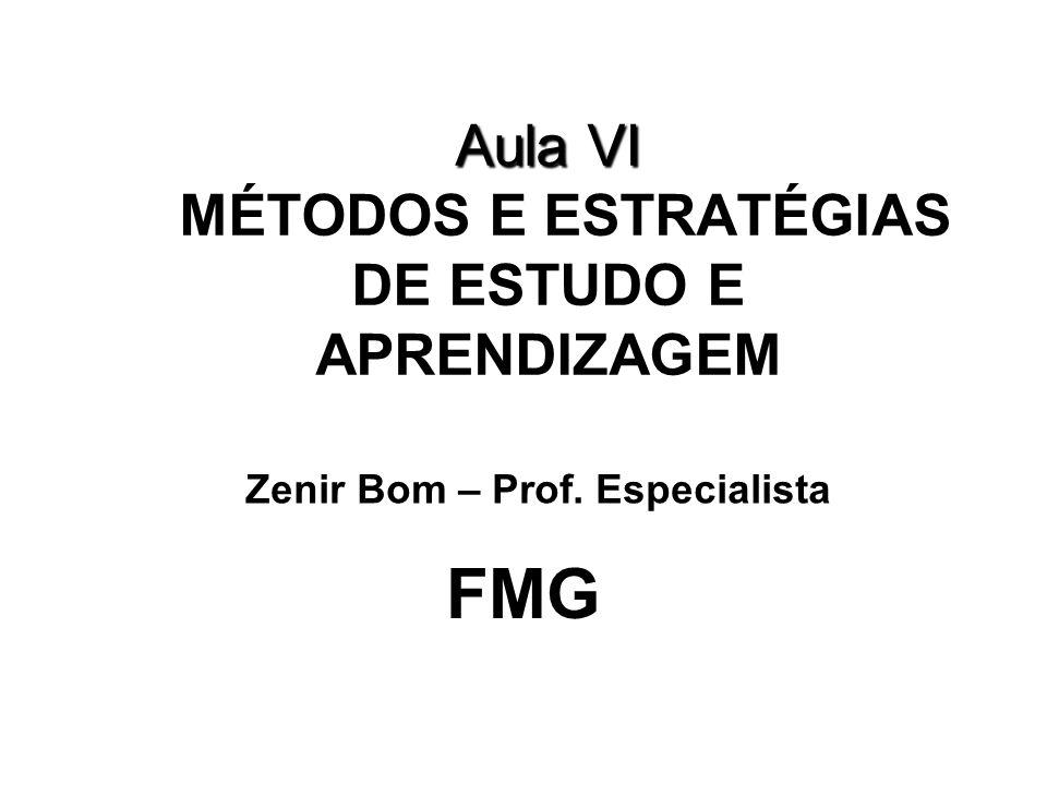 Aula VI MÉTODOS E ESTRATÉGIAS DE ESTUDO E APRENDIZAGEM