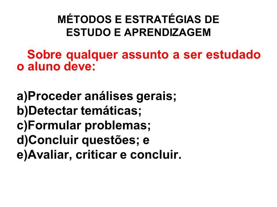 MÉTODOS E ESTRATÉGIAS DE ESTUDO E APRENDIZAGEM