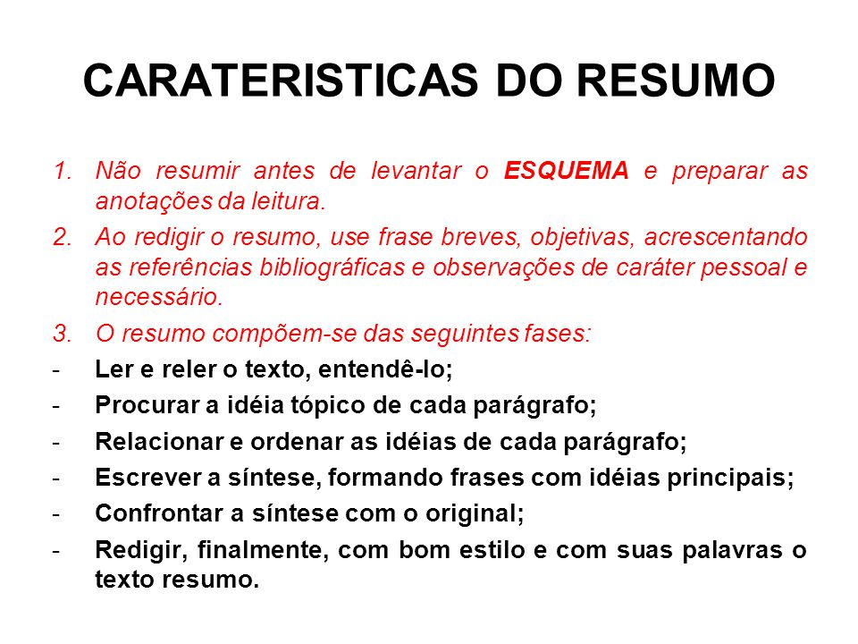 CARATERISTICAS DO RESUMO