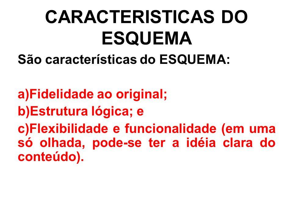 CARACTERISTICAS DO ESQUEMA