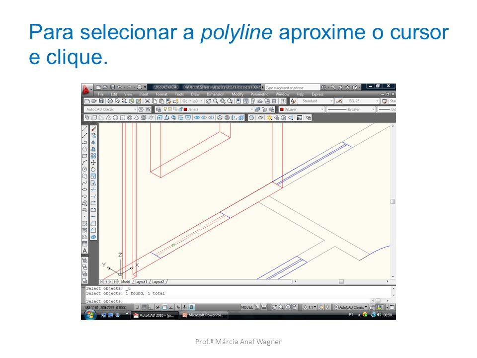 Para selecionar a polyline aproxime o cursor e clique.