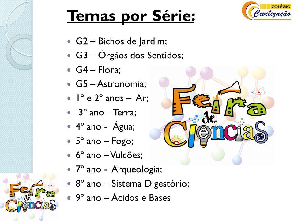 Temas por Série: G2 – Bichos de Jardim; G3 – Órgãos dos Sentidos;