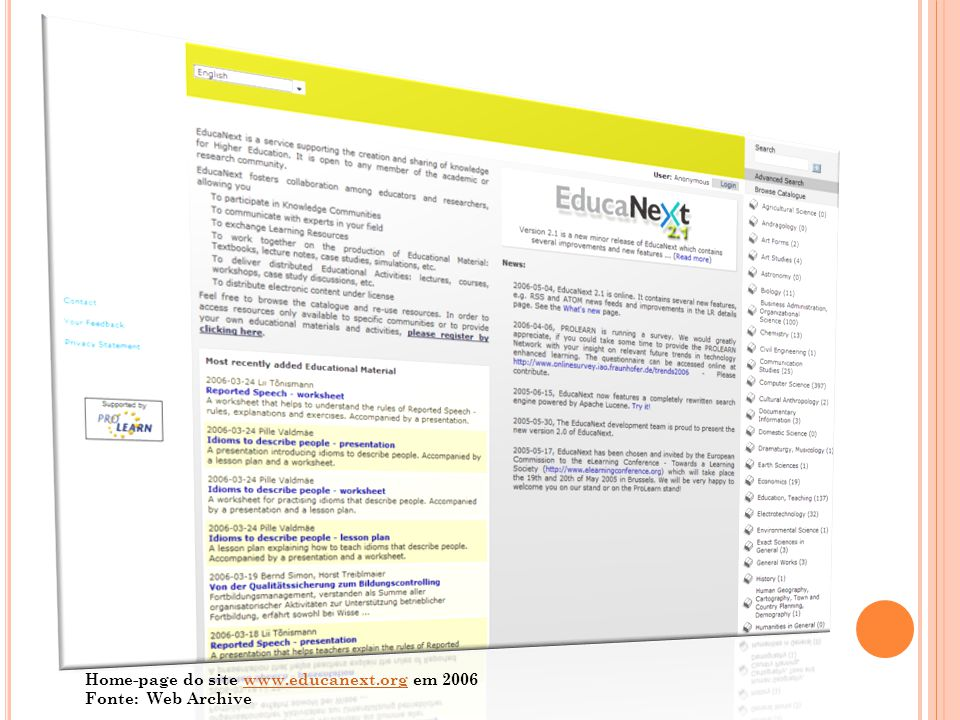 Home-page do site www.educanext.org em 2006