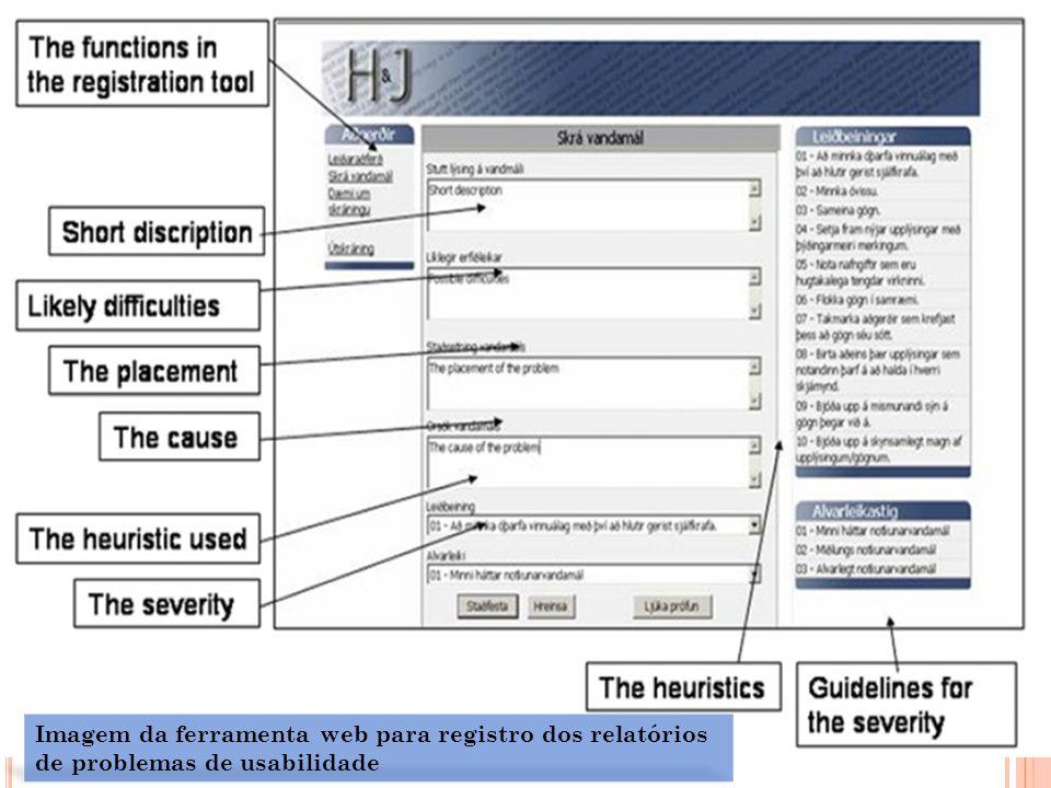 Imagem da ferramenta web para registro dos relatórios