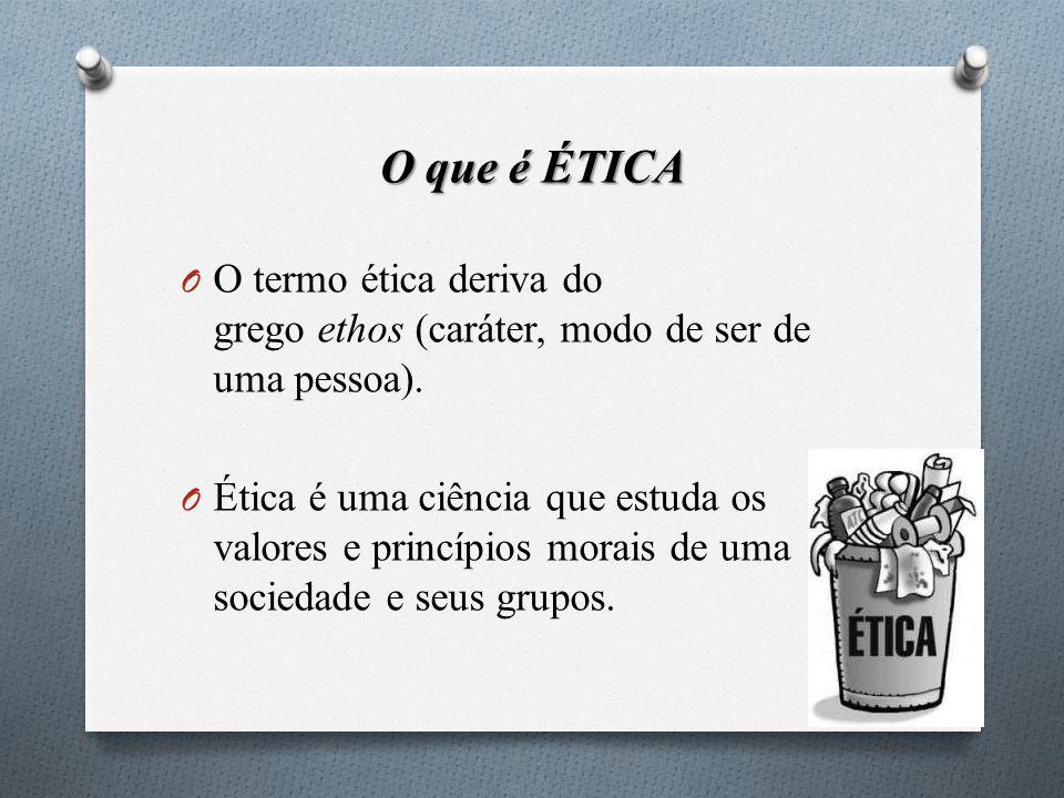 O que é ÉTICA O termo ética deriva do grego ethos (caráter, modo de ser de uma pessoa).