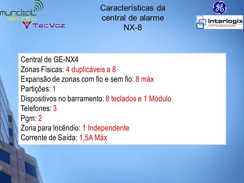 Características da central de alarme NX-8