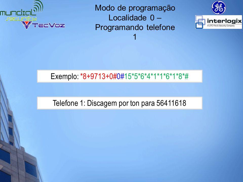 Localidade 0 – Programando telefone 1