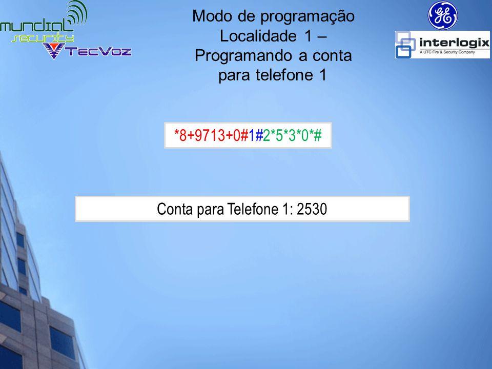 Localidade 1 – Programando a conta para telefone 1