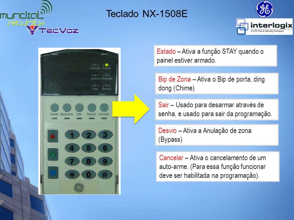 Teclado NX-1508E Estado – Ativa a função STAY quando o painel estiver armado. Bip de Zona – Ativa o Bip de porta, ding dong (Chime)
