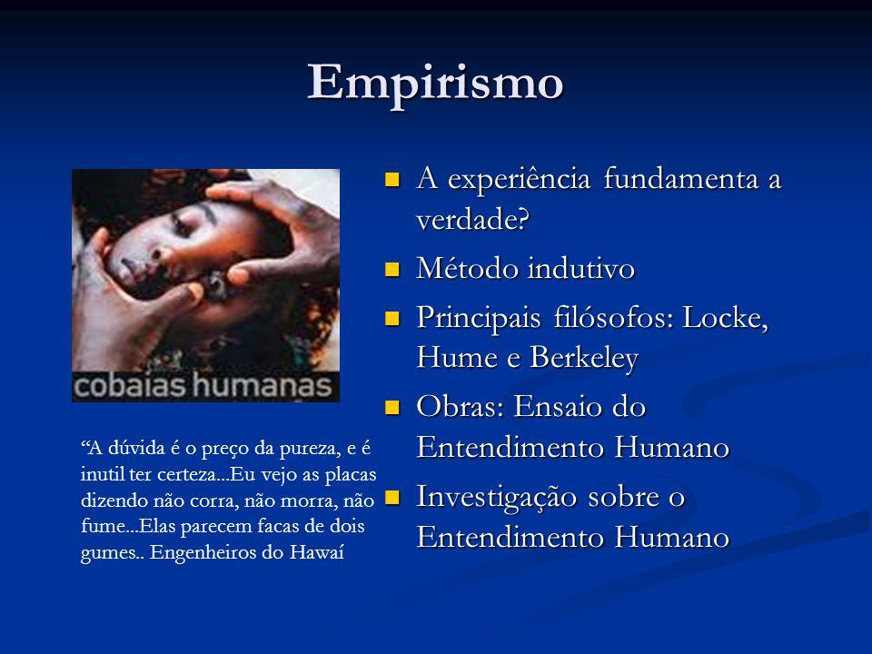 Empirismo A experiência fundamenta a verdade Método indutivo