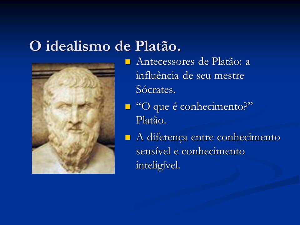 O idealismo de Platão. Antecessores de Platão: a influência de seu mestre Sócrates. O que é conhecimento Platão.