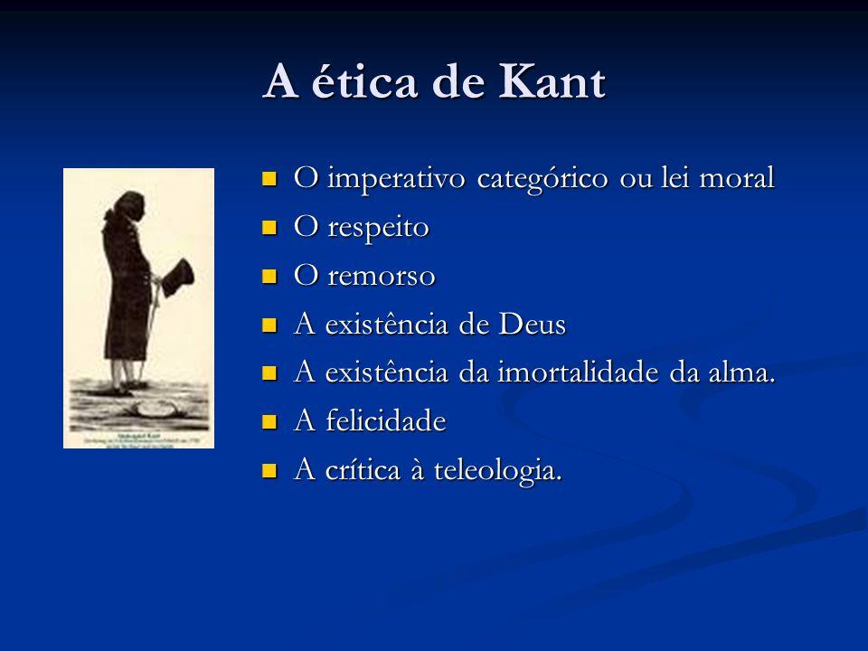 A ética de Kant O imperativo categórico ou lei moral O respeito