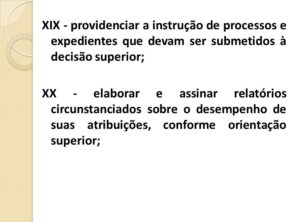 XIX - providenciar a instrução de processos e expedientes que devam ser submetidos à decisão superior;