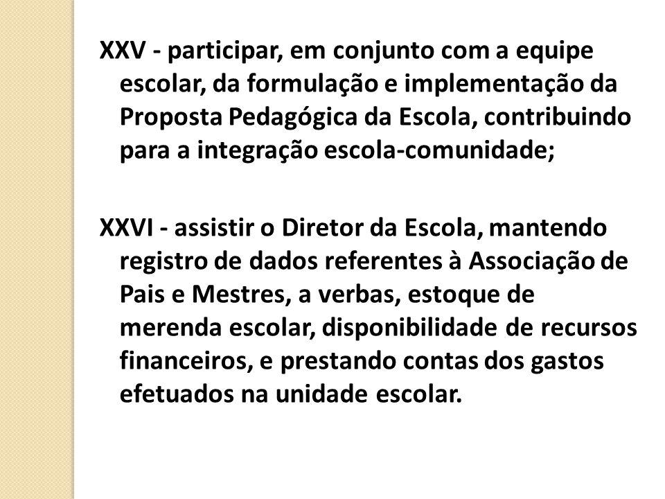 XXV - participar, em conjunto com a equipe escolar, da formulação e implementação da Proposta Pedagógica da Escola, contribuindo para a integração escola-comunidade;