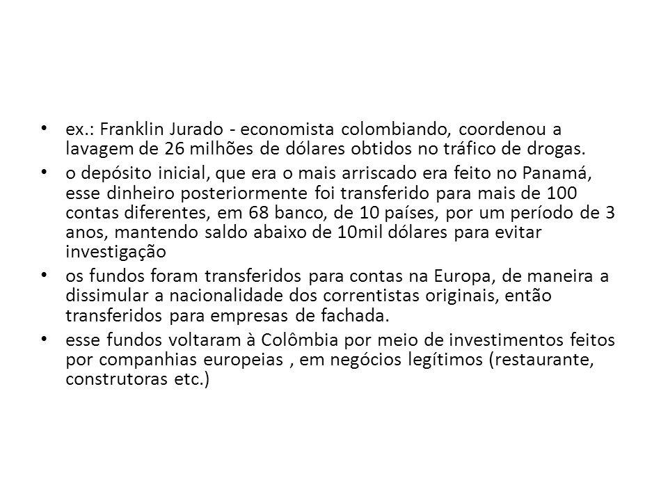 ex.: Franklin Jurado - economista colombiando, coordenou a lavagem de 26 milhões de dólares obtidos no tráfico de drogas.