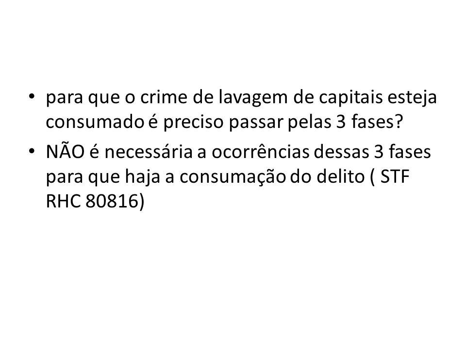 para que o crime de lavagem de capitais esteja consumado é preciso passar pelas 3 fases