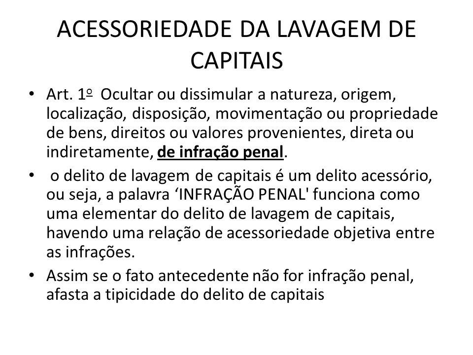 ACESSORIEDADE DA LAVAGEM DE CAPITAIS