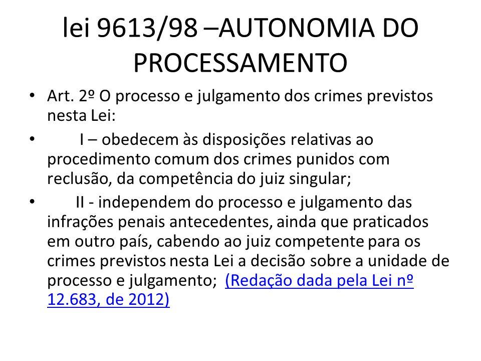 lei 9613/98 –AUTONOMIA DO PROCESSAMENTO
