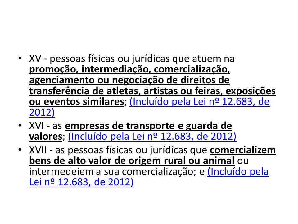 XV - pessoas físicas ou jurídicas que atuem na promoção, intermediação, comercialização, agenciamento ou negociação de direitos de transferência de atletas, artistas ou feiras, exposições ou eventos similares; (Incluído pela Lei nº 12.683, de 2012)