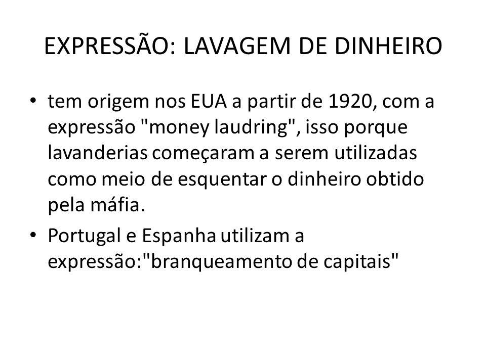 EXPRESSÃO: LAVAGEM DE DINHEIRO