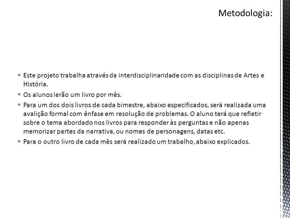 Metodologia: Este projeto trabalha através da interdisciplinaridade com as disciplinas de Artes e História.
