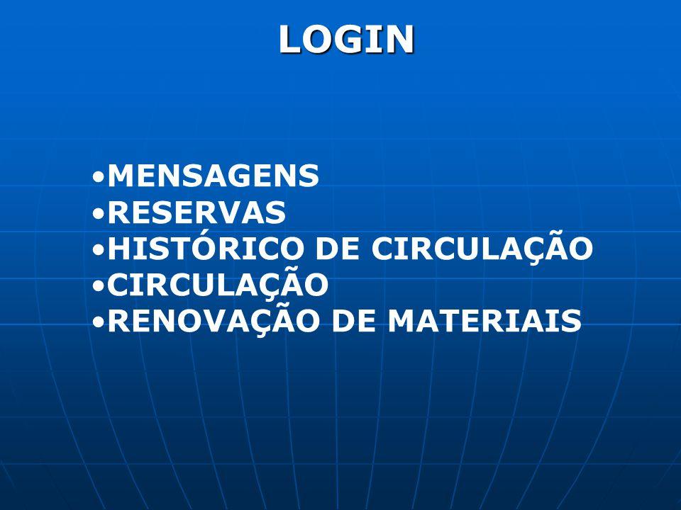LOGIN MENSAGENS RESERVAS HISTÓRICO DE CIRCULAÇÃO CIRCULAÇÃO