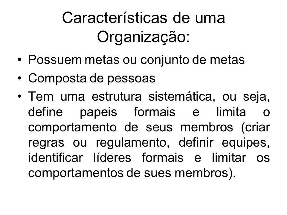 Características de uma Organização: